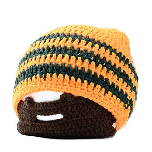 Streifen-Mens-Bart-Mützen kühler Schnurrbart-Punkwarmer Winter-Knit-Hut häkeln Beanie-Gesichtsmaske-Ski-Schnee-Wärmer-Kappen M048 Orange (Schnee-hut Gesichtsmaske Männer)