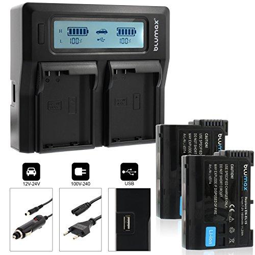 Blumax Profi 2X Akku Nikon EN-EL15 1600mAh Doppelladegerät für Nikon EN-EL15 Akku Dual Charger für 2 Akkus gleichzeitig Laden