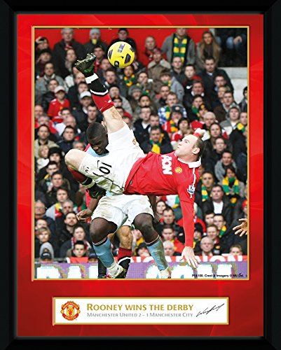 GB eye Ltd GB Eye Framed Photograph, Manchester United, Rooney Derby Goal, 8x6-inch