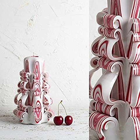 Decorative Carved Candle - White with Red Stripes - Perfect Handmade Gift for Mom - EveCandles