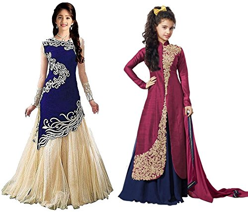 Market Magic World Girl's Blue & Maroon Banglori, Velvet Semi Stitched Combo Pack lehenga Choli, Salwar Suit, Gown (Kids Wear_Free Size_8-12 Year age)  available at amazon for Rs.799