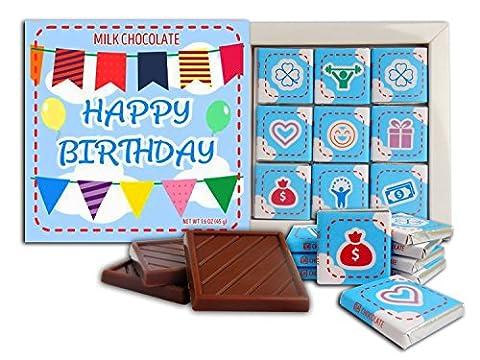 Bon Anniversaire Cadeau de chocolat au lait ♛ DA CHOCOLATE ♛ 13x13cm Boîte 9 pièces de chocolat (Bleu Prime)