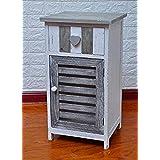 Pagano Home Cajonera Mobile baño, madera Blanco Gris Shabby Chic Arte povera Camera baño dimensiones 35x 30h 60cm). Art 17419