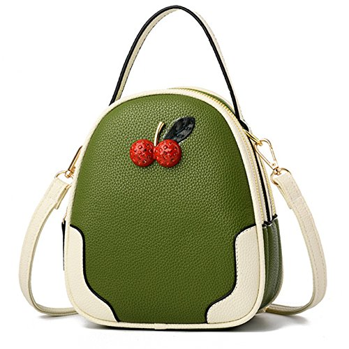 RCXOO Mädchen Metallkette Strap Mini Mischfarben Umhängetasche Mode Kirsche Schultertasche PU Lady Taschen Shopping Geburtstag,Green-17 * 10 * 20CM