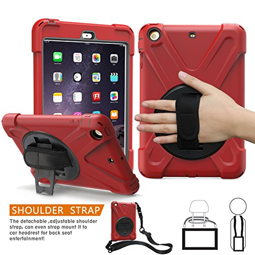 Ipad Mini 1. Fällen Generation (iPad Mini 1., 2., 3. Generation Fall, braecn dreilagiger Heavy Duty Soft Hard Silikon Bumper Case mit 360 Grad Drehgelenk Ständer/A Handschlaufe und einen Schultergurt für iPad Mini 1 2 3 Fall (Red))