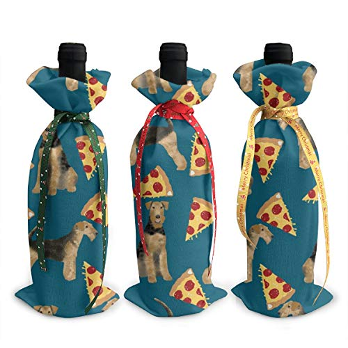Wine Bags,Airedale Terrier Dog Cute Dogs Food Funny Pizza Sapphire Blue Champagne Wine Bottle Bags Covers for Wedding Party Holiday 3 Pieces Set Bottle Neoprene Wine Tote Bag