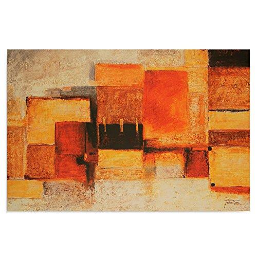 Feeby Frames, Tableau mural, Tableau Déco, Tableau imprimé, Tableau Deco Panel, 60x80cm (FORMES ABSTRACTION, ROUGE, ORANGE, JAUNE)