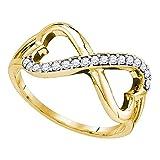 10kt oro amarillo para mujer redondo diamond infinito doble corazón anillo 1/6quilates = 0,16quilates (I2-I3claridad; I-J Color)