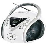 Trevi CMP 542 USB Stereo Portatile Boombox con Lettore CD, Mp3, USB, Radio, Bianco