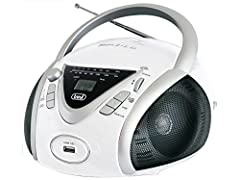 Idea Regalo - Trevi CMP 542 USB Stereo Portatile Boombox con Lettore CD, Mp3, USB, Radio, Bianco
