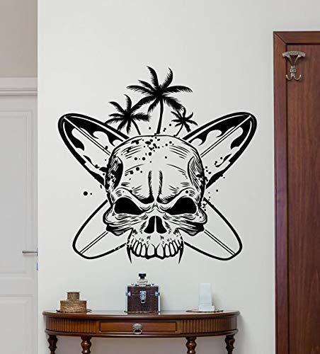 Kunst Schädel Mit Surfbrettern Surf Schädel Wandtattoos Home Wohnzimmer Kunst Dekor Vinyl Wandaufkleber Spezielle Kreative Tapete 57 * 57 cm