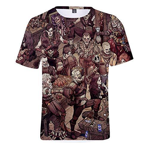 Xrwz Unisex Hombres 3D Patrón Impreso Camisetas Verano Casual Manga Corta  T-Shirt God of War S