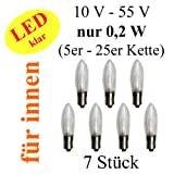 netSells® * LED Topkerze / Riffelkerze / Spitzschaftkerze * 10-55 V * 0,2 W * für innen * warmweiß * 7er Set * klar