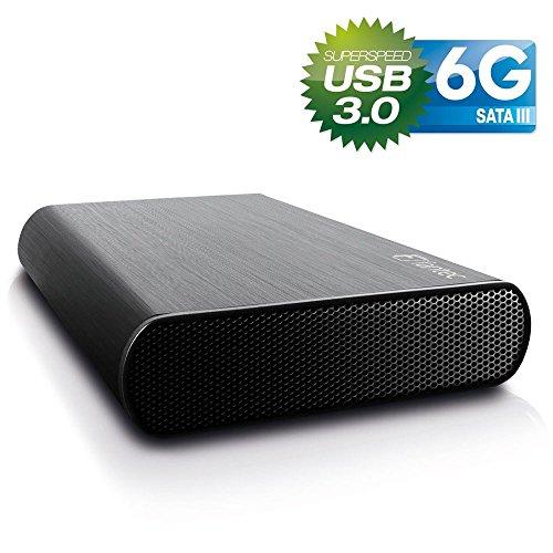 FANTEC DB-AluSky U3-6G Externes Festplattengehäuse (für den Einbau einer 8,89 cm (3,5 Zoll) SATA I/II/III Festplatte, unterstützt SATA III 6G Festplatten und USAP, USB 3.0 SUPERSPEED Anschluss, gebürstetes Aluminium Gehäuse) schwarz