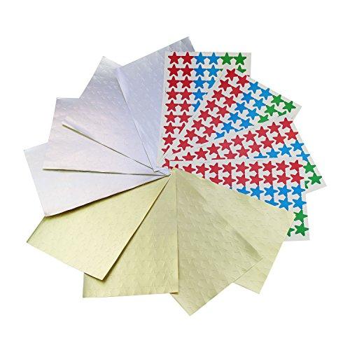 Etiquetas engomadas autoadhesivas de la forma de la estrella de 19m m, 12 hojas con cuenta total de 720 en 5 colores