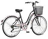 breluxx 26 Zoll Damenfahrrad Venera Fashion Cherry Bloosom Black Citybike Korb