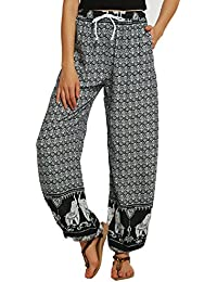 Urban GoCo Femmes Boho Harem Pantalon Dames Floral Imprimer Élastiquée  Taille Pantalon 29c6e3491aa