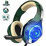 Cascos de Camuflaje para PS4 / PC / Xbox One,Beexcellent 2018 Auriculares de Última Generación con Sonido Cristalino en Altos,de Diadema Cerrados con Reducción de Ruido (Tiene un Adaptador 2 en 1) …