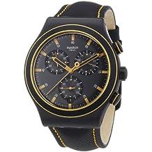 Swatch YVB400 - Orologio da polso uomo, pelle, colore: nero - Swatch Irony Cronografo
