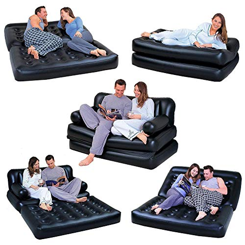 Sky Black 5 in 1 Inflatable Sofa Air Bed Couch with Free Electric Pump Bestway Image 2