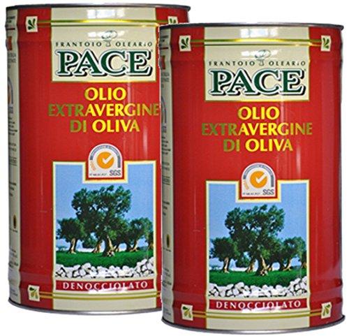 Olio extra vergine di oliva denocciolato - confezione da 2 lattine da lt.5 - 100% italiano, prodotto a freddo dalla sola polpa di olive