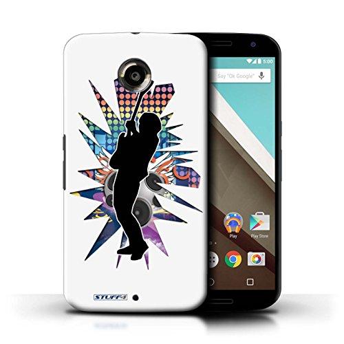 Kobalt® Imprimé Etui / Coque pour Motorola Nexus 6 / Elvis Noir conception / Série Rock Star Pose Hendrix Blanc