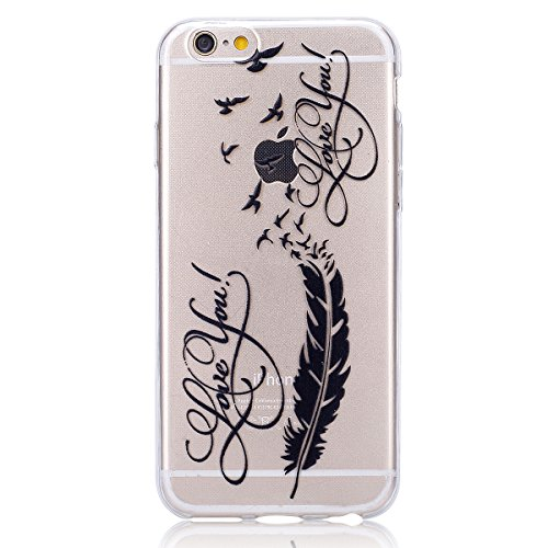 iPhone 6 Plus Hülle,iPhone 6s Plus TPU Gel Case Bumper,Ekakashop Bunte Transparent Comic Zwei Federn Muster Crystal Klar Flexible Case Silikon Defender Protective Schutzhülle Durchsichtig mit Niedlich Schwarze Feder Vögel