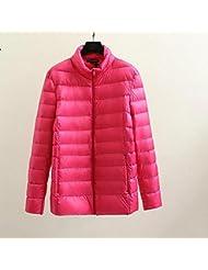 QIANQIAN Invierno ropa magra y gorda XL puro ganso blanco de las mujeres abajo chaqueta abrigo , big yards xl , rose red