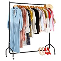 CrazyLynX Clothes Rails on Wheels Metal Heavy Duty Carment Hanging Rack Coat Display Stand For Bedroom, Living Room (5ft)...