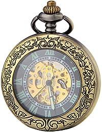 SEWOR bronce lupa Reloj de bolsillo mecánico luminoso caso AUTO viento