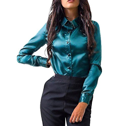 KaloryWee Womens Long Sleeve Satin Blouse With Cuffs Tops OL Button Fashion Shirt Blouse