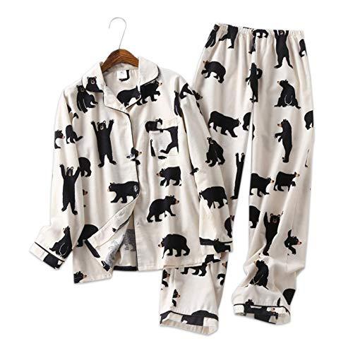 HIUGHJ Pyjamas Netter weißer Bär 100% gebürstete Baumwollfrauenpyjamasätze Herbst beiläufige Art und Weise Sleepwearfrauen Homewear (Bären Kostüm Da)