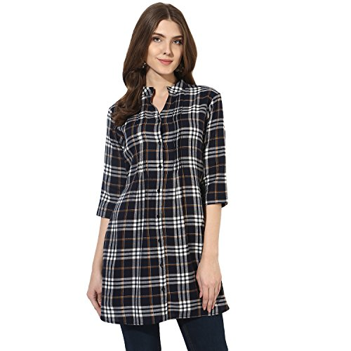 One Femme Women's Plaid Check Print Tunic (OFTNT012_Multicolor 26_X-Small)