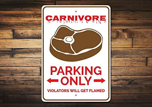 Dozili Carnivore Parkschild Fleischliebhaber Geschenk Carnivore Parkschild Fleischliebhaber Geschenk Karneval Mann Höhle Deko Fleischliebhaber Schild Qualität Aluminium 20,3 x 30,5 cm -