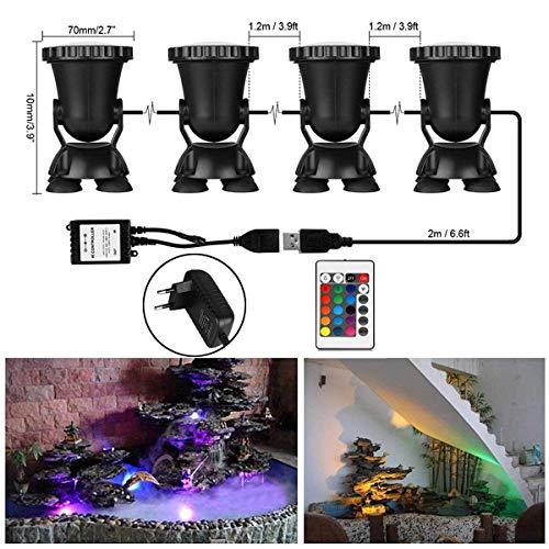ONEVER Led Unterwasser Scheinwerfer Kit mit Fernbedienung | 4pcs Mehrfarben RGB Aquarium Lichter mit EU Stecker | IP68 Wasserdicht für...