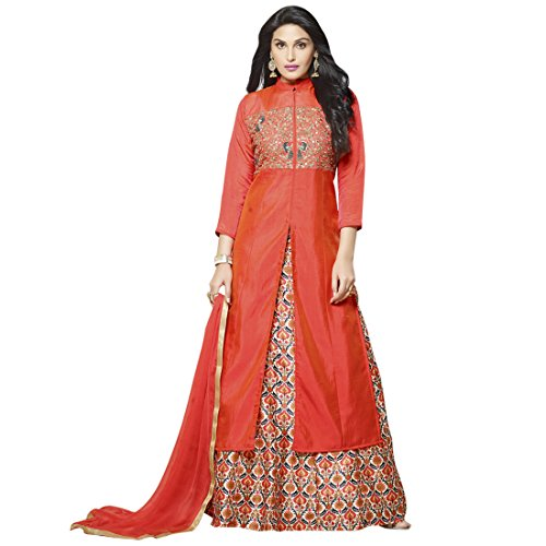 SHELINA Women Orange Silk Embroidered Partywear Salwar Suit