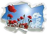 Stil.Zeit Mohnblumen, Papier 3D-Wandsticker Format: 62x45 cm Wanddekoration 3D-Wandaufkleber Wandtattoo