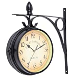 Paneltech Black Friday Stile Europeo Doppio Orologio da Parete, Home Indoor o Outdoor Garden Fashion Style Doppio Lato Moderno White