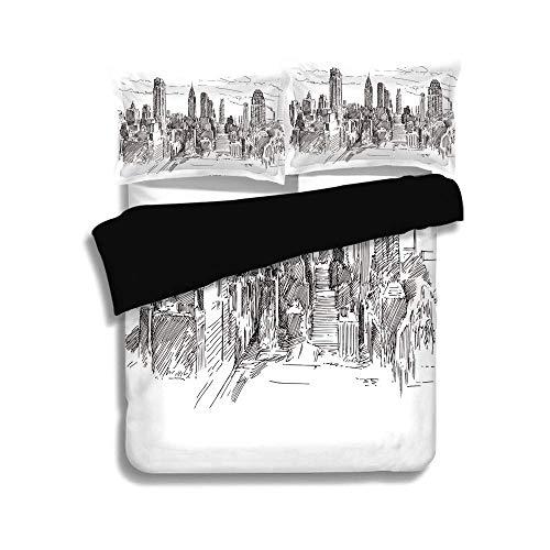 Schwarzer Bettbezug-Set, New York, handgezeichnete NYC Cityscape Tourismus Travel Industrial Center Stadt modernes Stadtdesign, grauweiß, dekorative 3-teilige Bettwäsche von 2 Pillow Shams, Queen / Fu