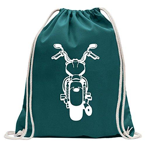 Kiwistar Biker - Rocker - Chopper Turnbeutel Fun Rucksack Sport Beutel Gymsack Baumwolle mit Ziehgurt