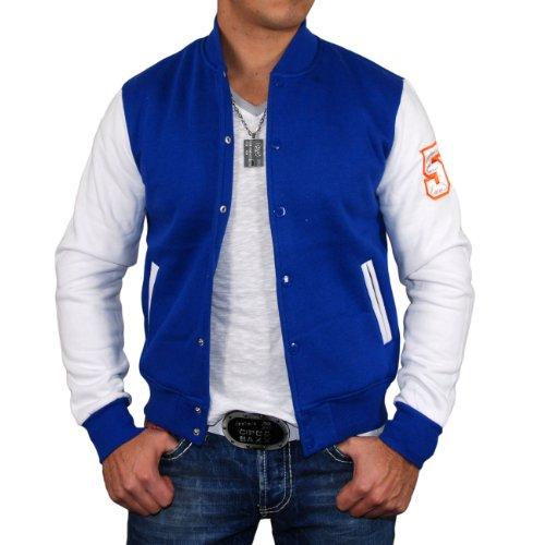 Reslad Herren Collegejacke Jacke Z-13032 Blau-Weiß