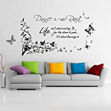 Walplus Wall Stickers Dance In The Rain Butterflies  Removable Self-Adhesive Mural Art Decals Vinyl Home Decoration DIY Living Bedroom Office Décor Wallpaper Kids Room Gift, Multi-colour