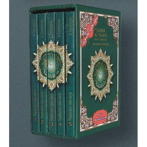 Coran Al-Tajwid : Avec traduction des sens en français. Coffret en 5 volumes