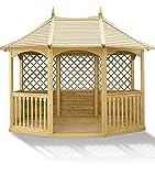 G&C Breite Winchester – achteckiger Holzpavillon mit Boden, Balustraden und Rankgittern – Maße: 324 cm x 240 cm x h 300 cm