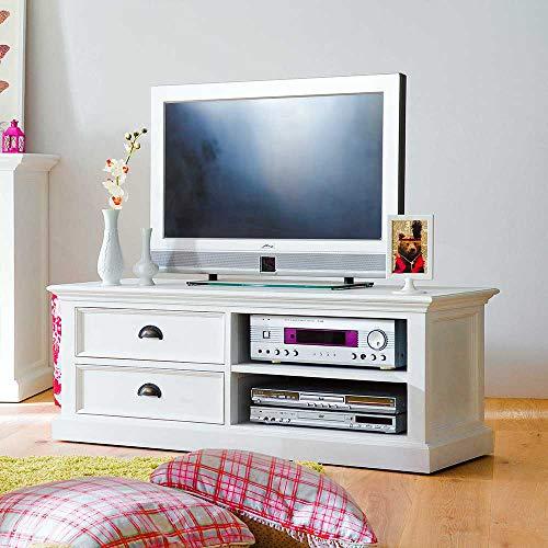 Pharao24 TV Unterschrank in Weiß massiv Landhaus 120 cm