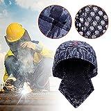 Cappello Protettivo Saldatore Sciarpa Tappo Casco Traspirante Cotone Blu Lavabile ignifugo Testa Resistente al Fuoco Cappello di Saldatura Protettivo Tipo di Bandana