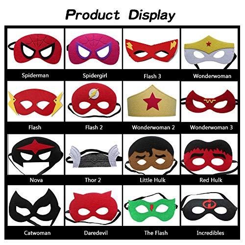 51dNntctNJL - Ventdest Máscaras de Superhéroe, Suministros de Fiesta de Superhéroes, Máscaras de Cosplay de Superhéroe, Máscaras de Media Fiesta para Niños o Niños Mayores de 3 Años - 32 Piezas