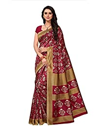 Fabwomen Sarees Kalamkari Red And Red Coloured Art Silk Fashion Party Wear Women's Saree/Sari With Blouse Piece.