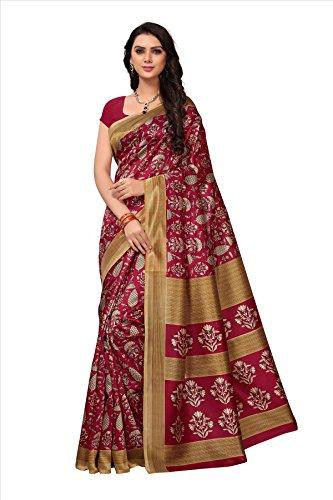 Fabwomen Sarees Kalamkari Red And Red Coloured Art Silk Fashion Party Wear Women's Saree/Sari With Blouse Piece.