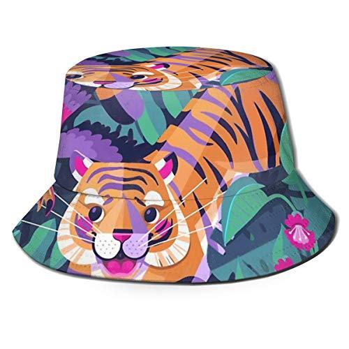 Meiya-Design Springender Tiger Flying Toucan Bucket Hut Reversible Fisherman Cap Packable Summer Sun Protection Cap for Women Men -